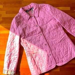 Powder Pink Burberry Quilted Jacket Coat Small S